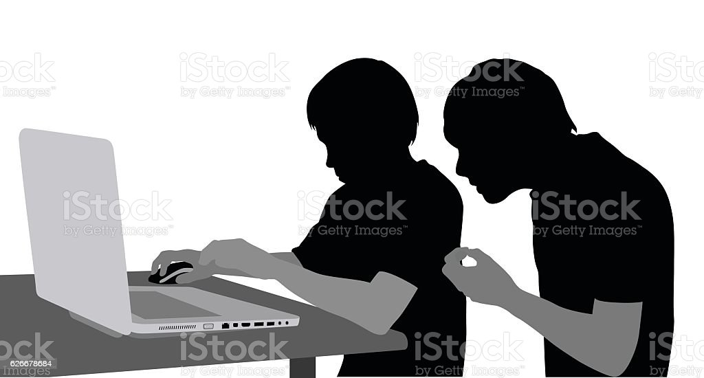 Brothers At The Laptop vector art illustration