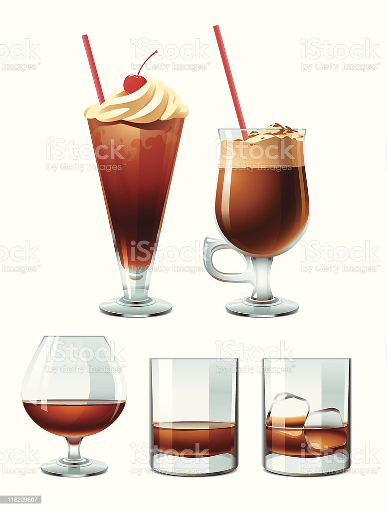 Brown alcoholic drinks vector art illustration