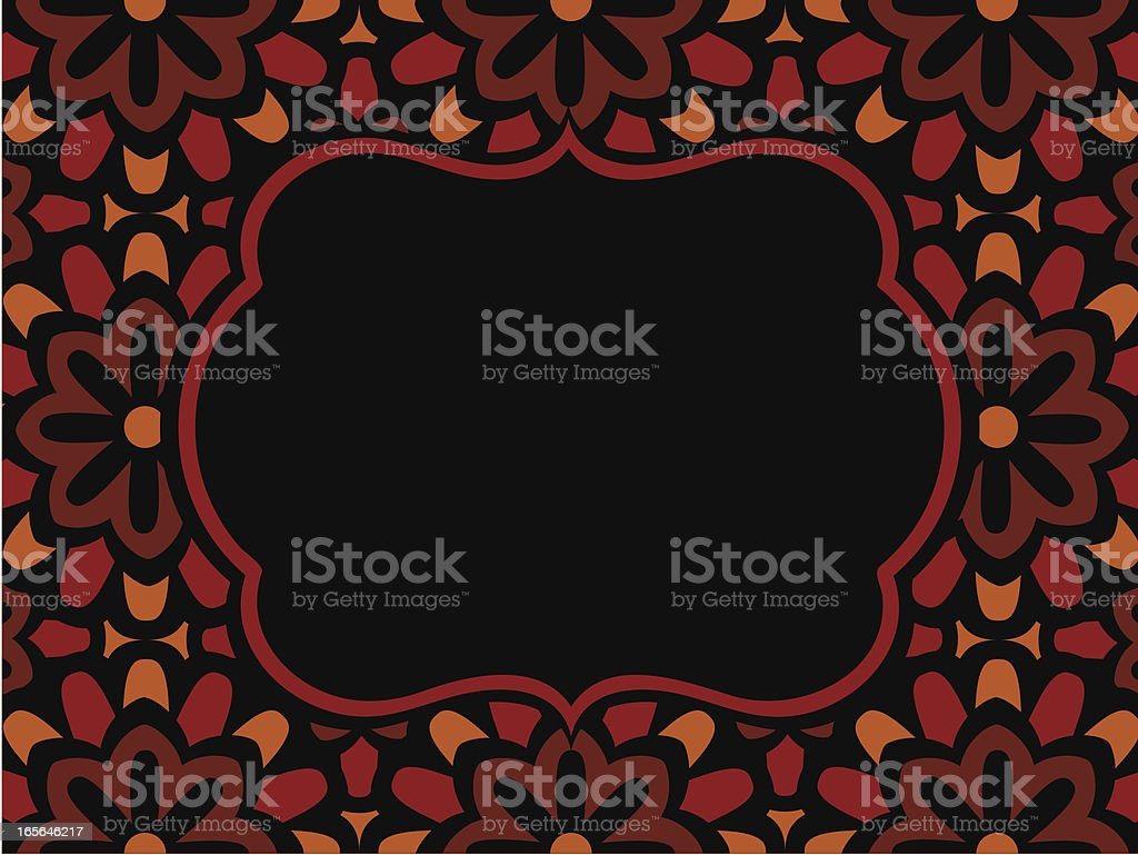 Brown and Black Background Frame with Flower Pattern royalty-free stock vector art