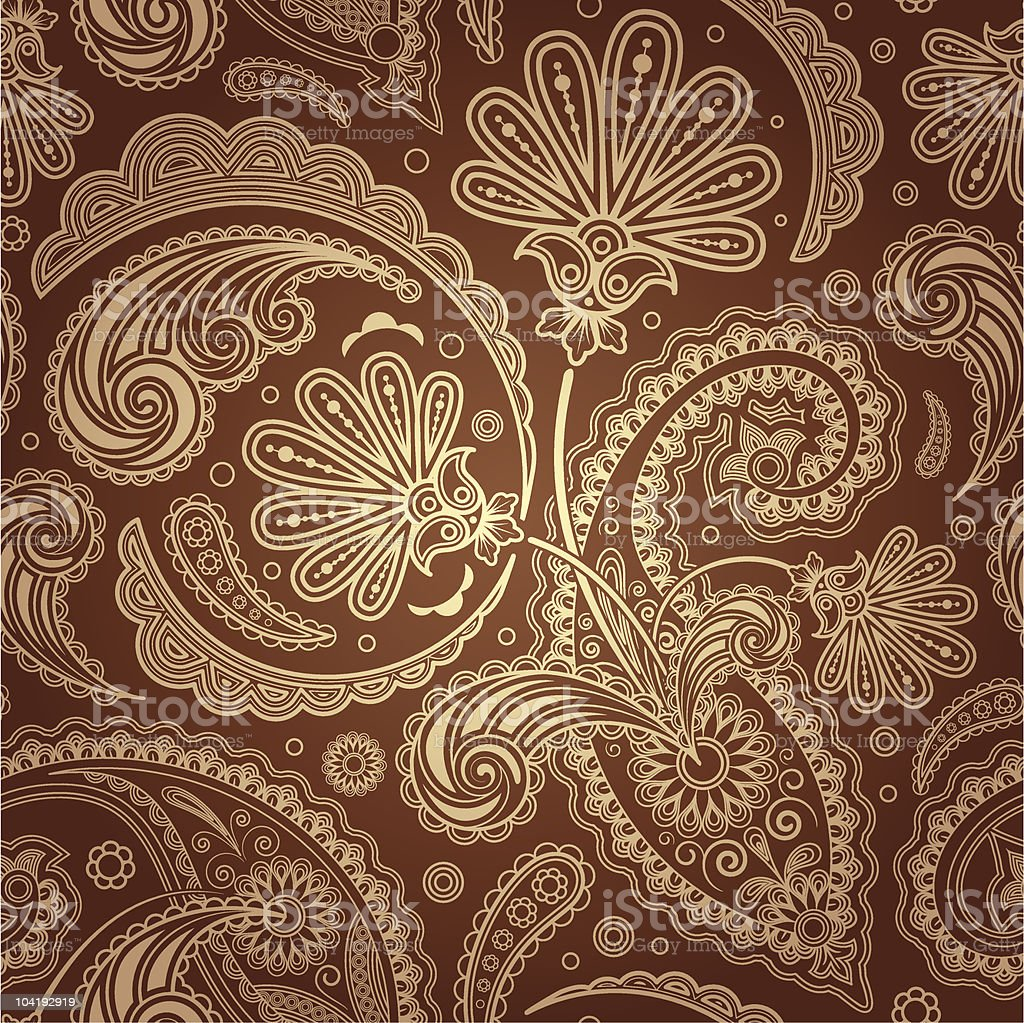 Brown and cream paisley background royalty-free stock vector art