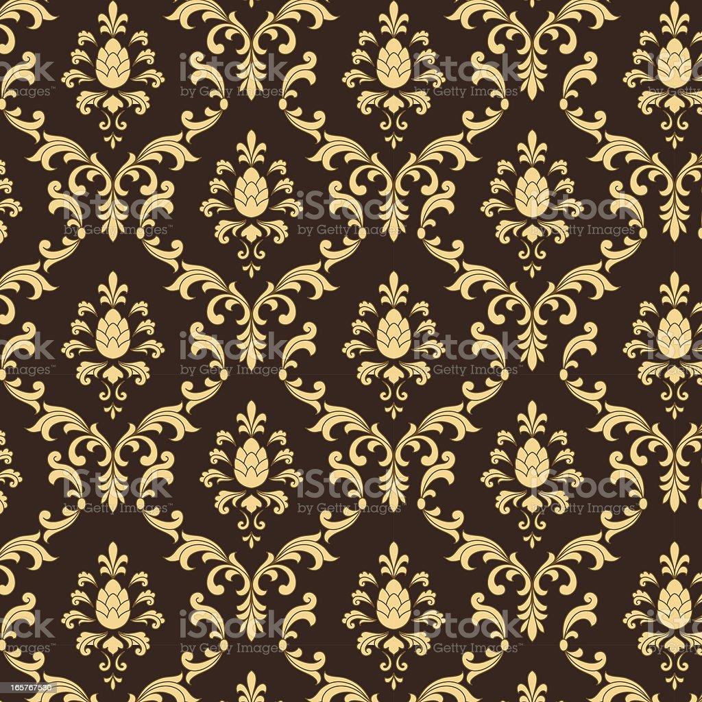 Brown and Gold Damask Pattern vector art illustration