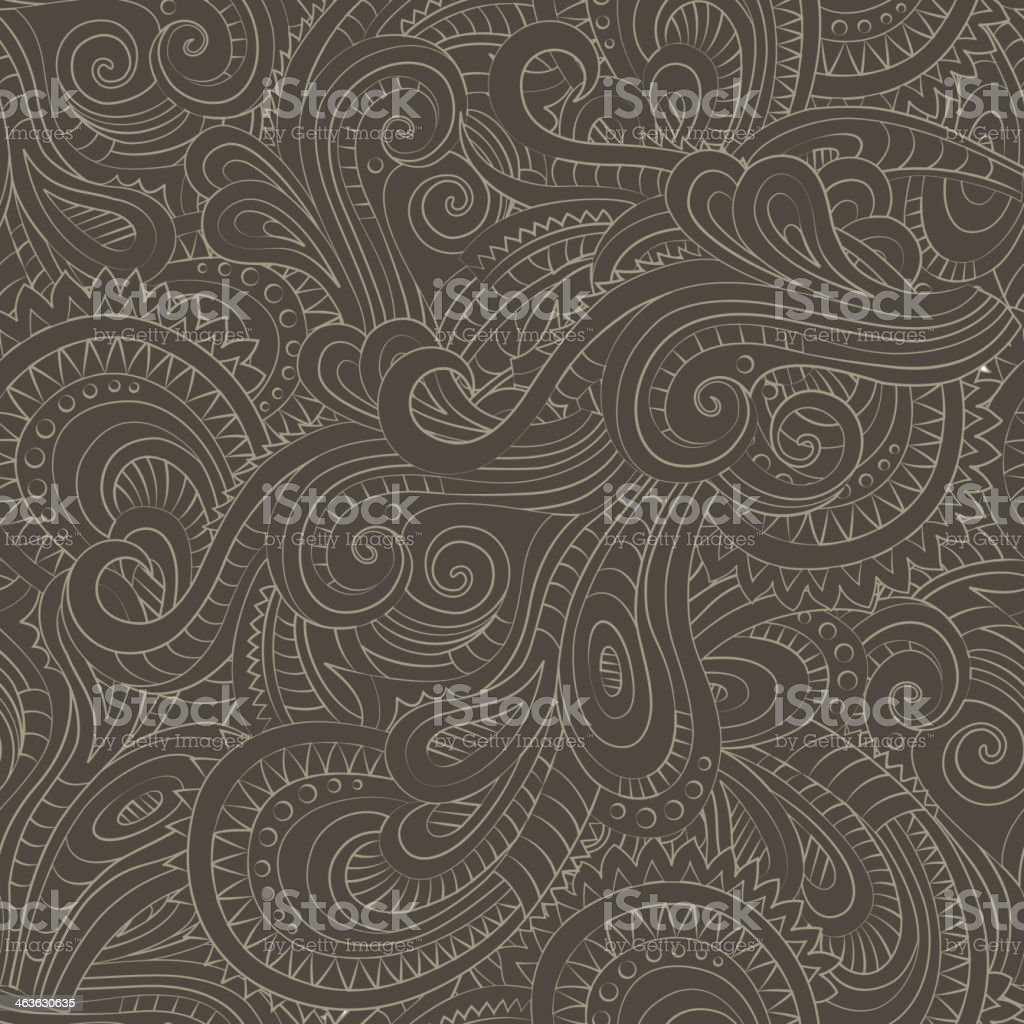 A brown and light brown decorative floral pattern vector art illustration