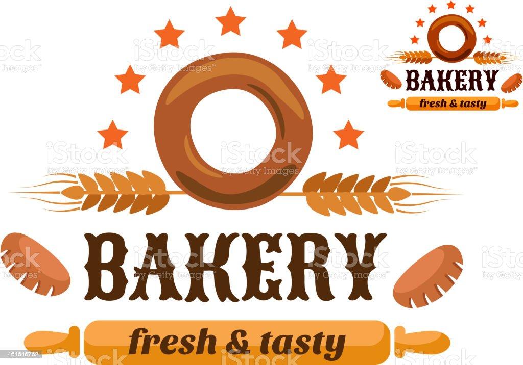 Brown and orange bakery emblem vector art illustration
