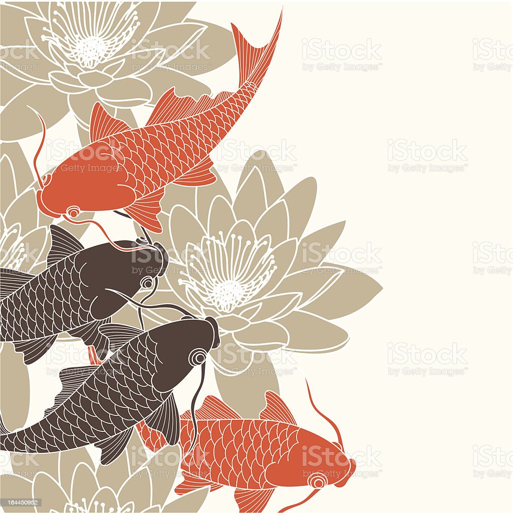 Brown and orange illustration of koi carp and water lilies vector art illustration