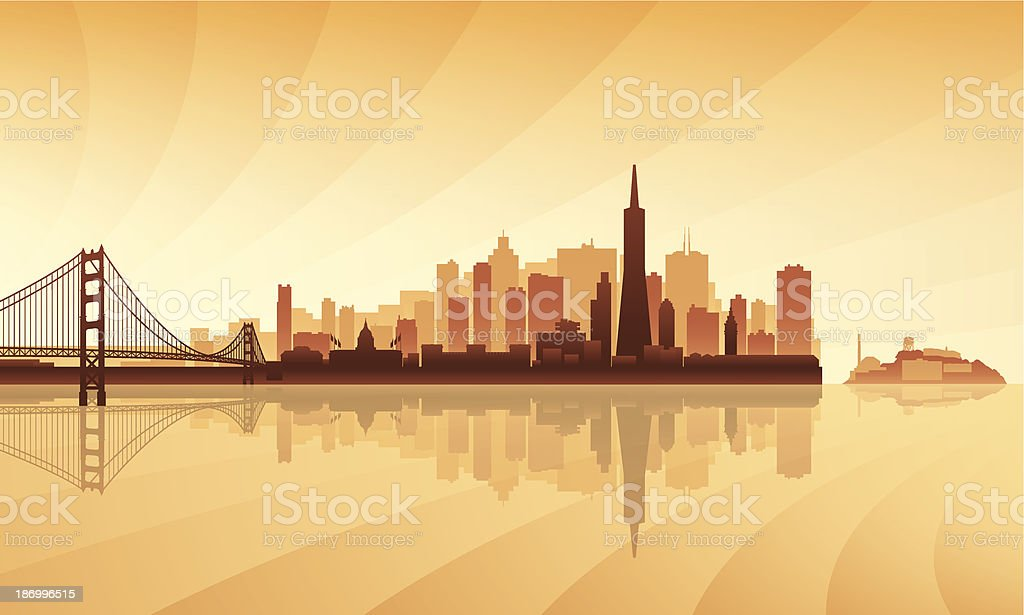 Brown and orange toned silhouette of San Francisco skyline vector art illustration