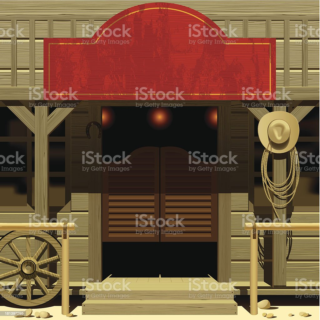 Brown and red wild West saloon vector art illustration