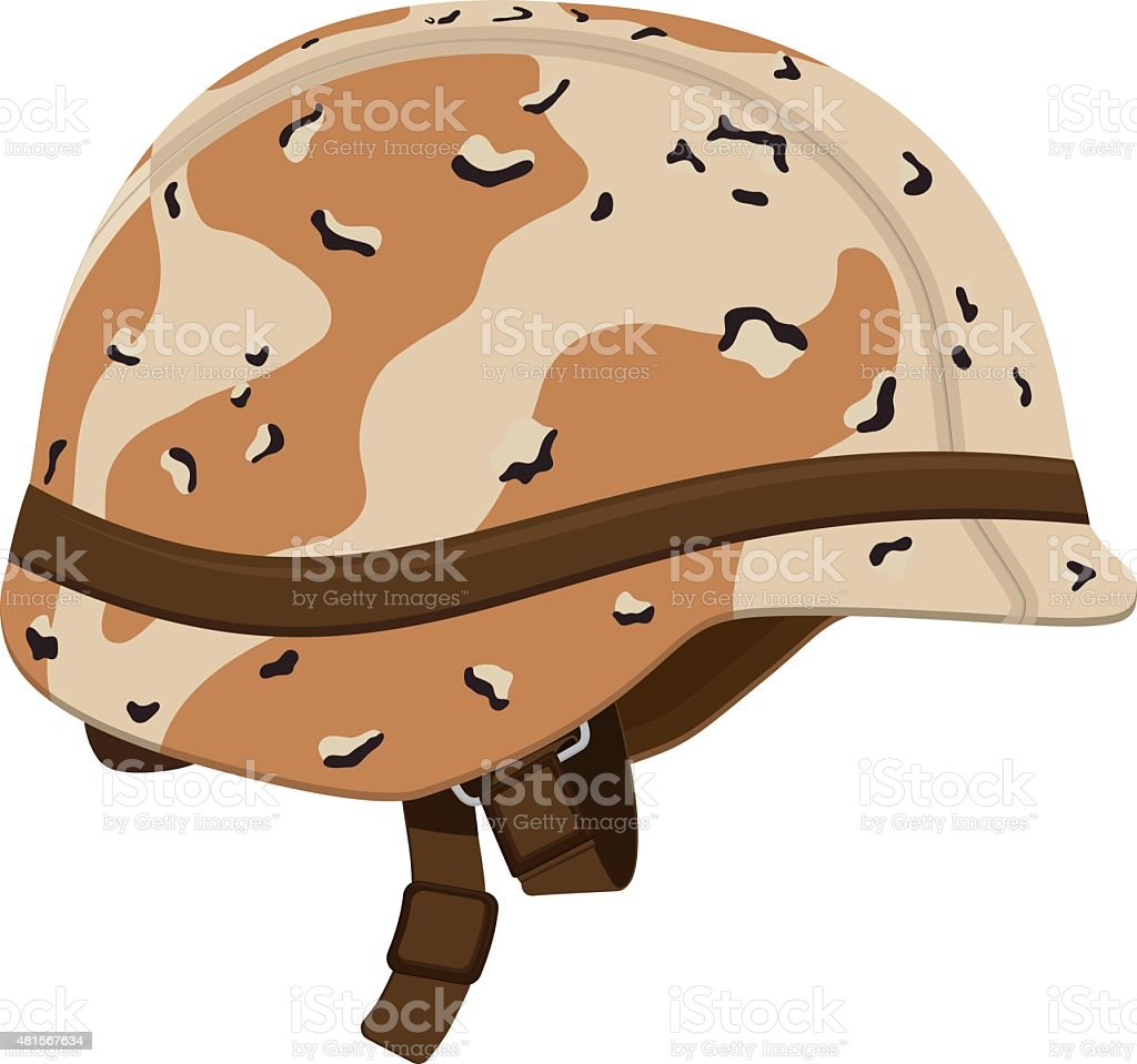 Brown and Tan Camouflage Military Helmet vector art illustration