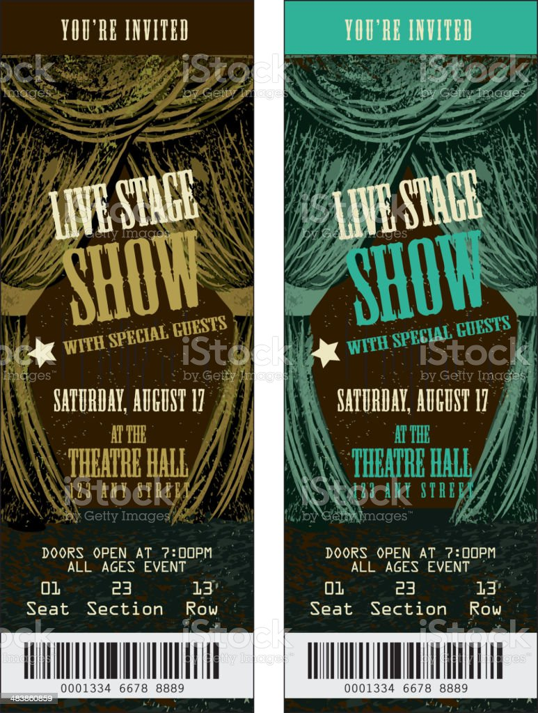 Brown and turqoise Colorful set of theatre show ticket templates vector art illustration
