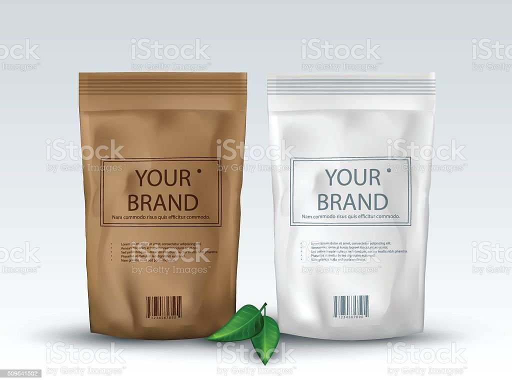 Brown and White Blank Foil Food Or Drink ,Bag Packaging vector art illustration