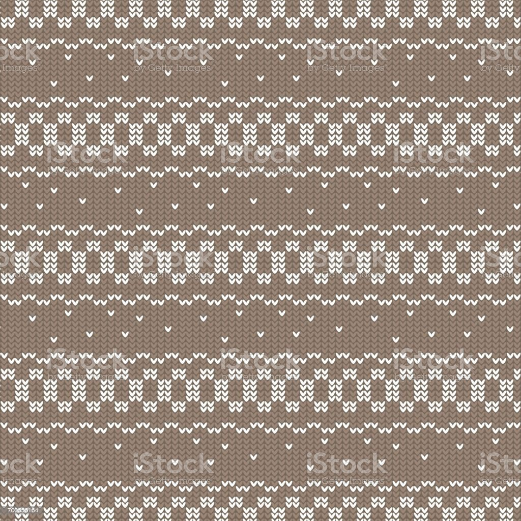 brown and white circle loop and curved striped with spot knitting pattern background vector art illustration