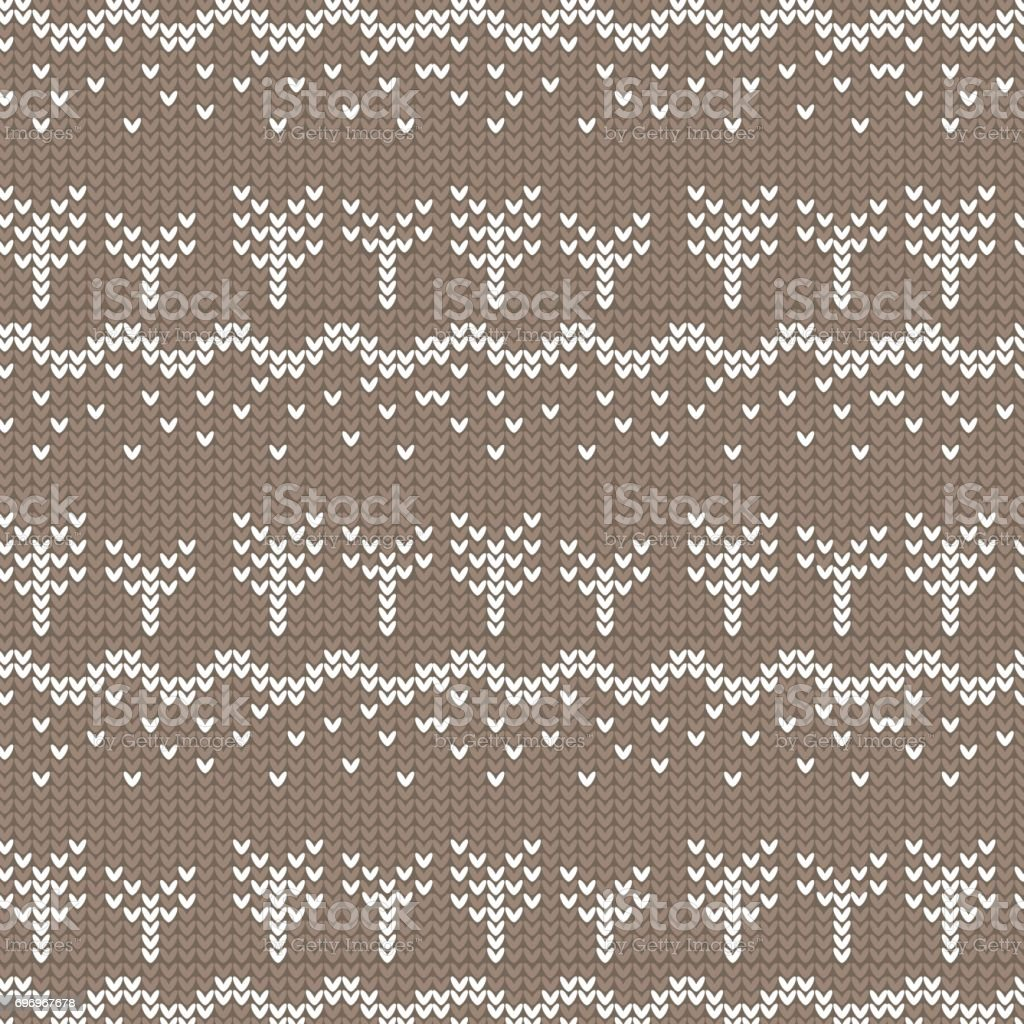 brown and white curved and tree with spot knitting pattern background vector art illustration