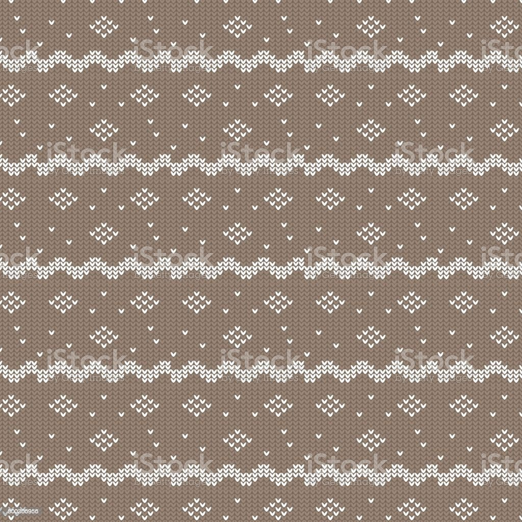 brown and white curved striped with diamond shape and dot knitting pattern background vector art illustration