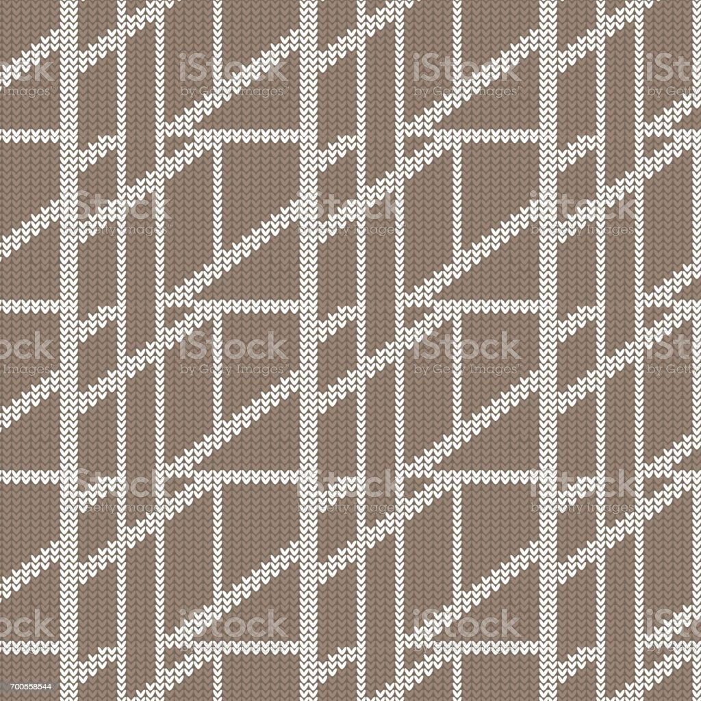 brown and white diagonal box abstract knitting pattern background vector art illustration