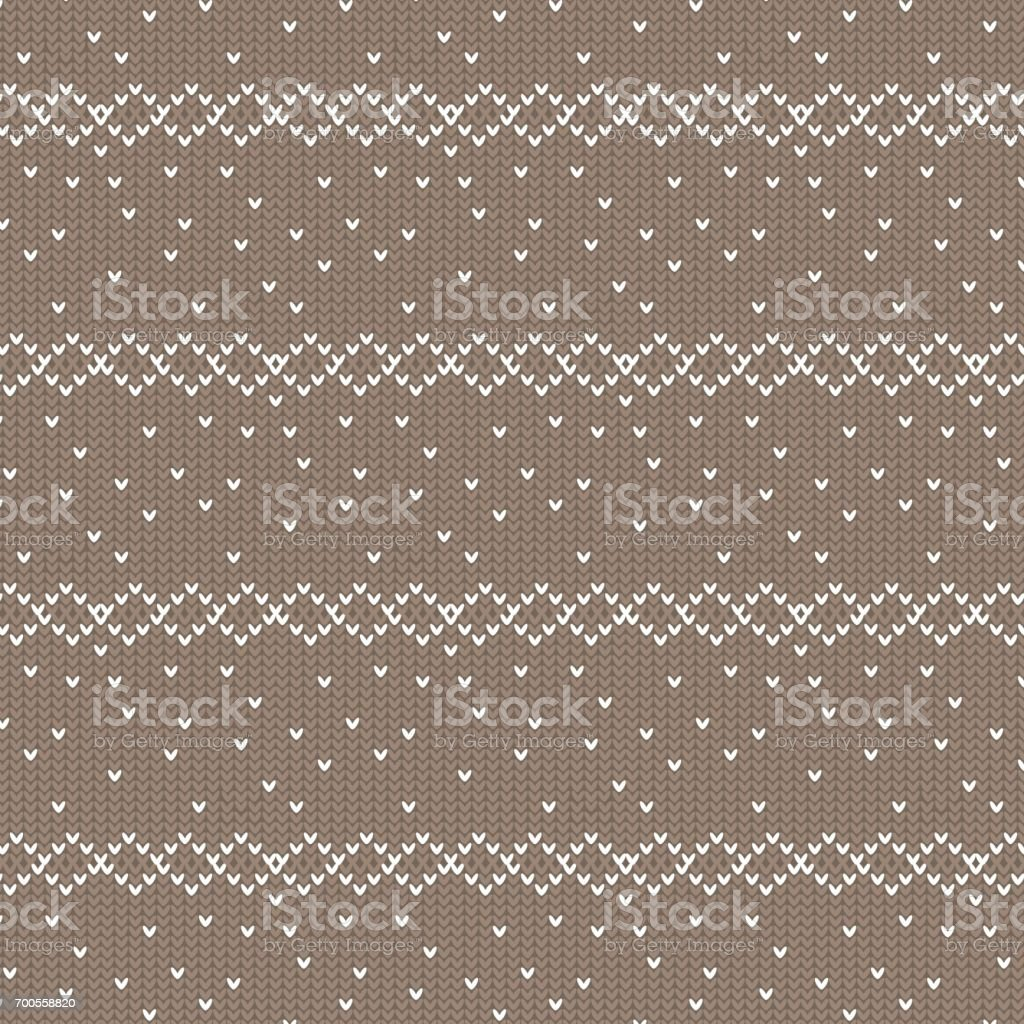 brown and white diamond row with spot knitting pattern background vector art illustration