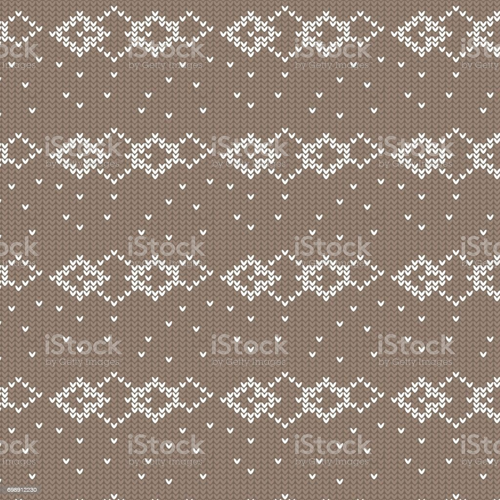 brown and white diamond shape overlapped with spot knitting pattern background vector art illustration