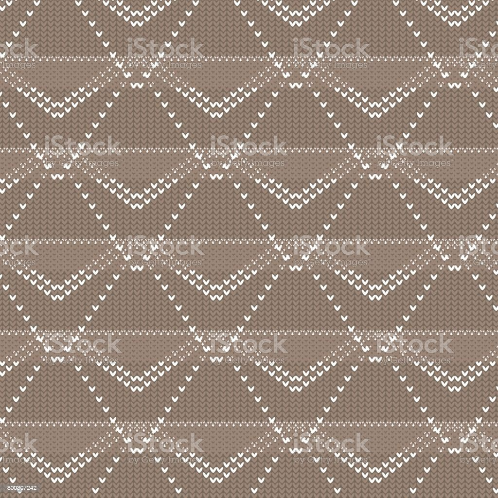 brown and white polygon and diamond shape dot line knitting pattern background vector art illustration