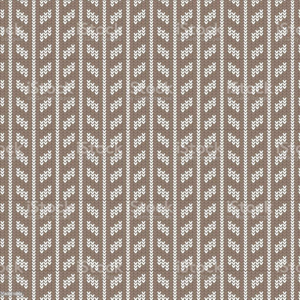Knit Vertical Stripes Pattern : Brown and white rectangle vertical striped knitting