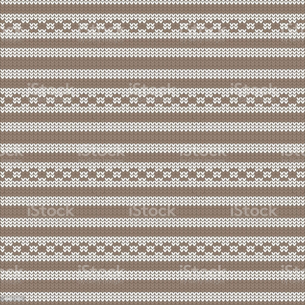 brown and white striped with circle loop striped knitting pattern background vector art illustration
