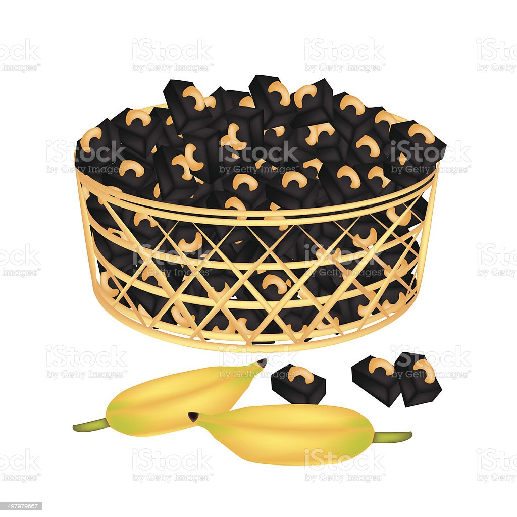 Brown Basket of Sweet Banana Candies with Cashew royalty-free stock vector art