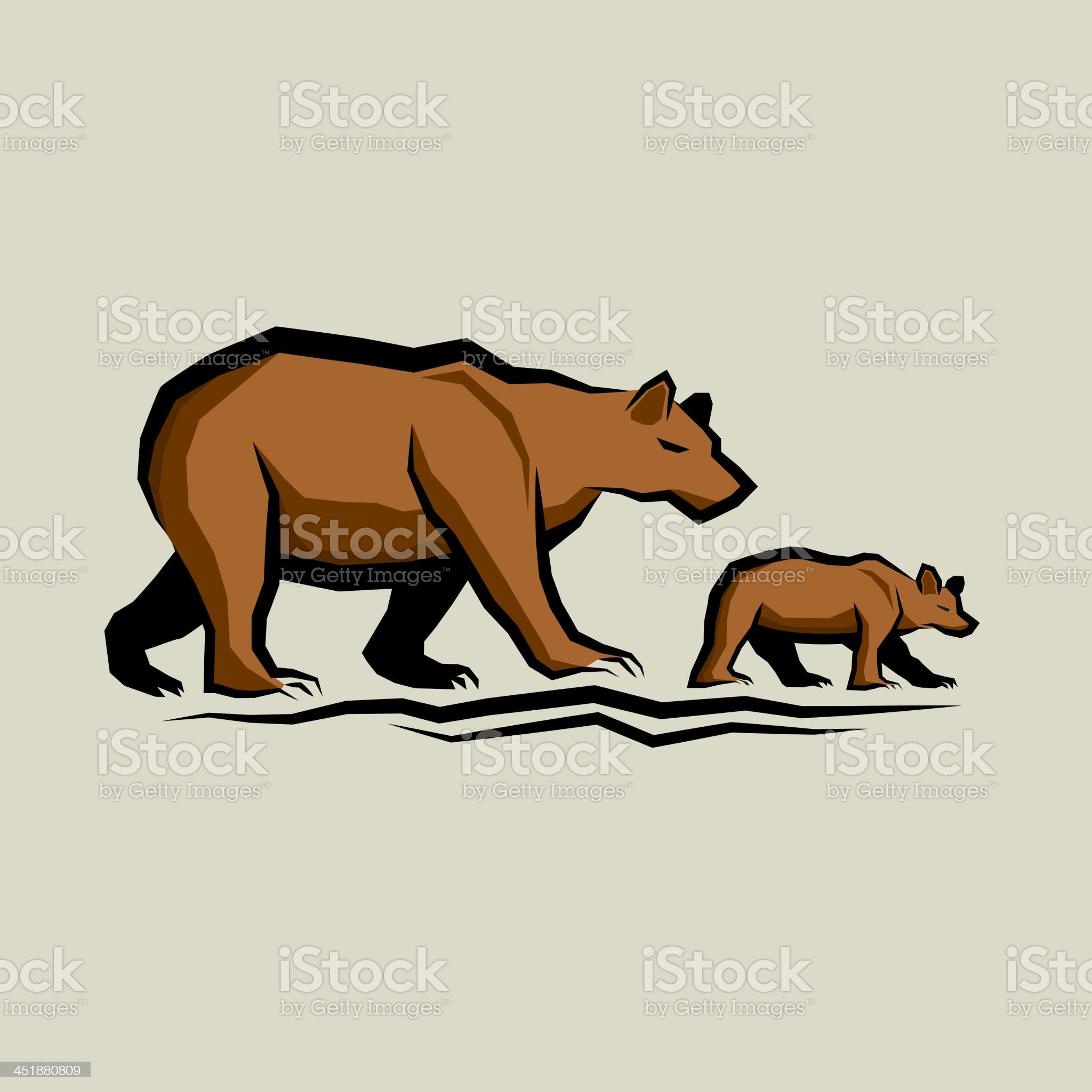 Brown Bear and Cub royalty-free stock vector art