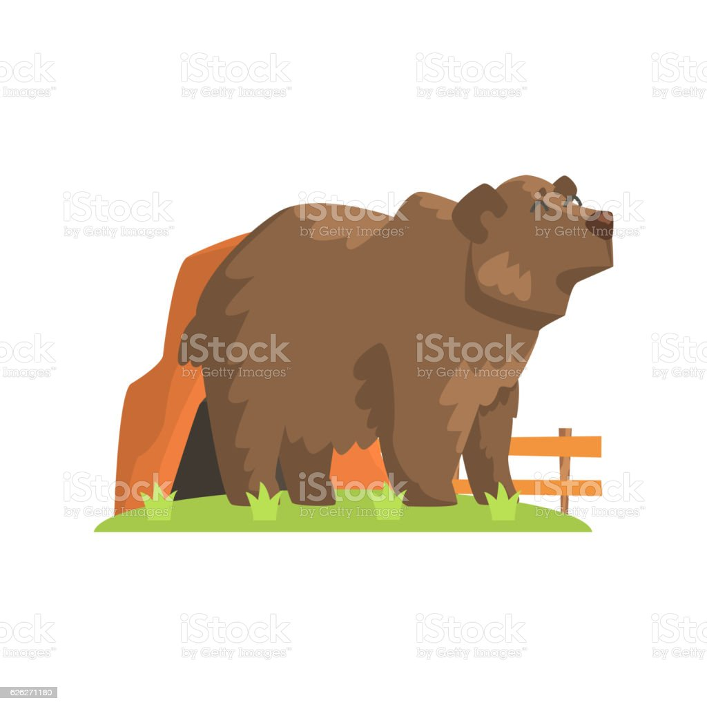 Brown Bear Coming Out Of  Den Standing On Green Grass vector art illustration