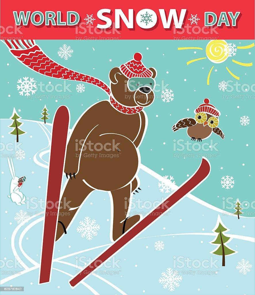 Brown bear ski jumping. World Snow day vector art illustration