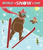 Brown bear ski jumping. World Snow day