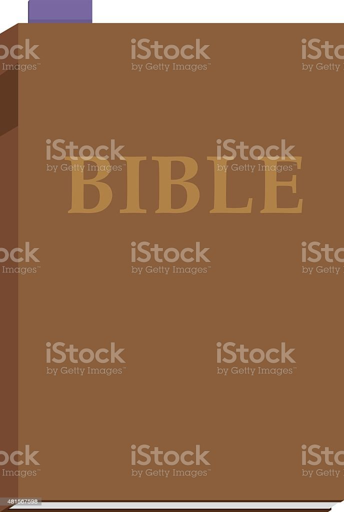 Brown Bible with Purple Bookmark vector art illustration