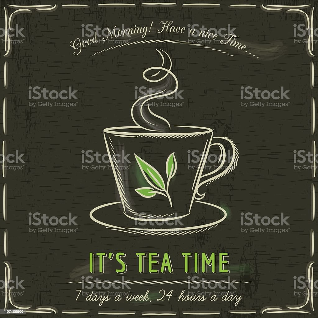 Brown blackboard illustrated with a cup of tea and text vector art illustration
