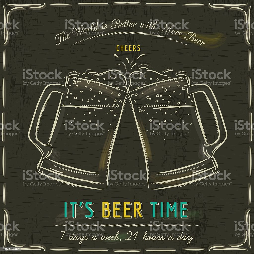 Brown blackboard with two cold mugs of beer vector art illustration