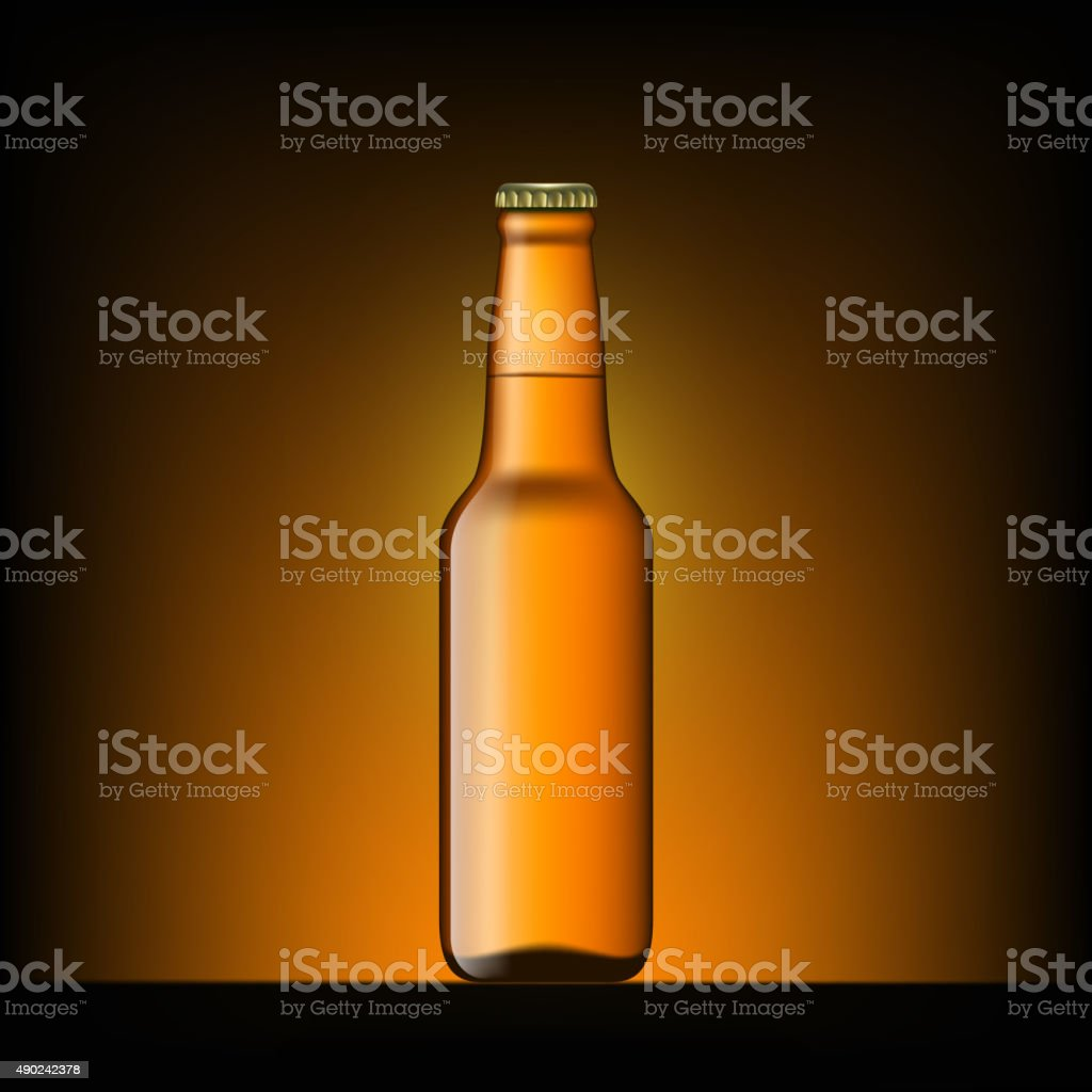 Brown bottle of beer vector art illustration