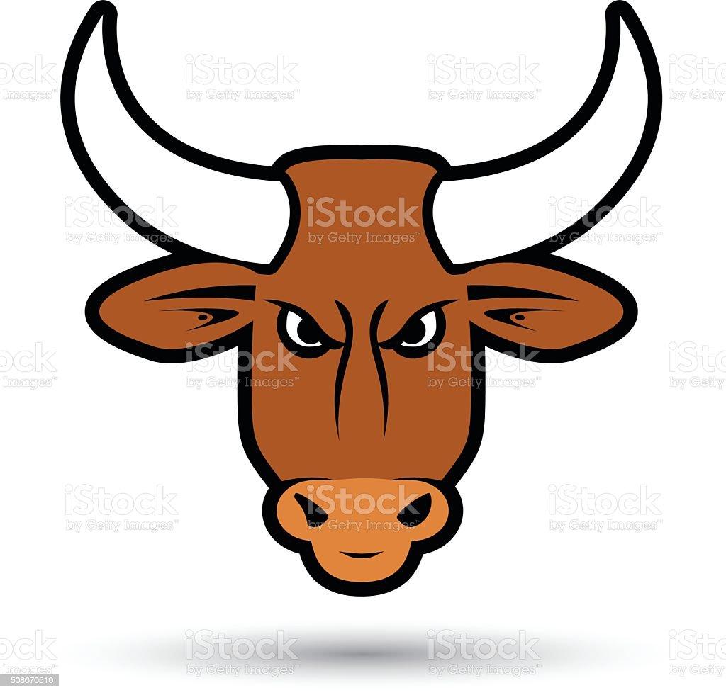 brown bull vector art illustration