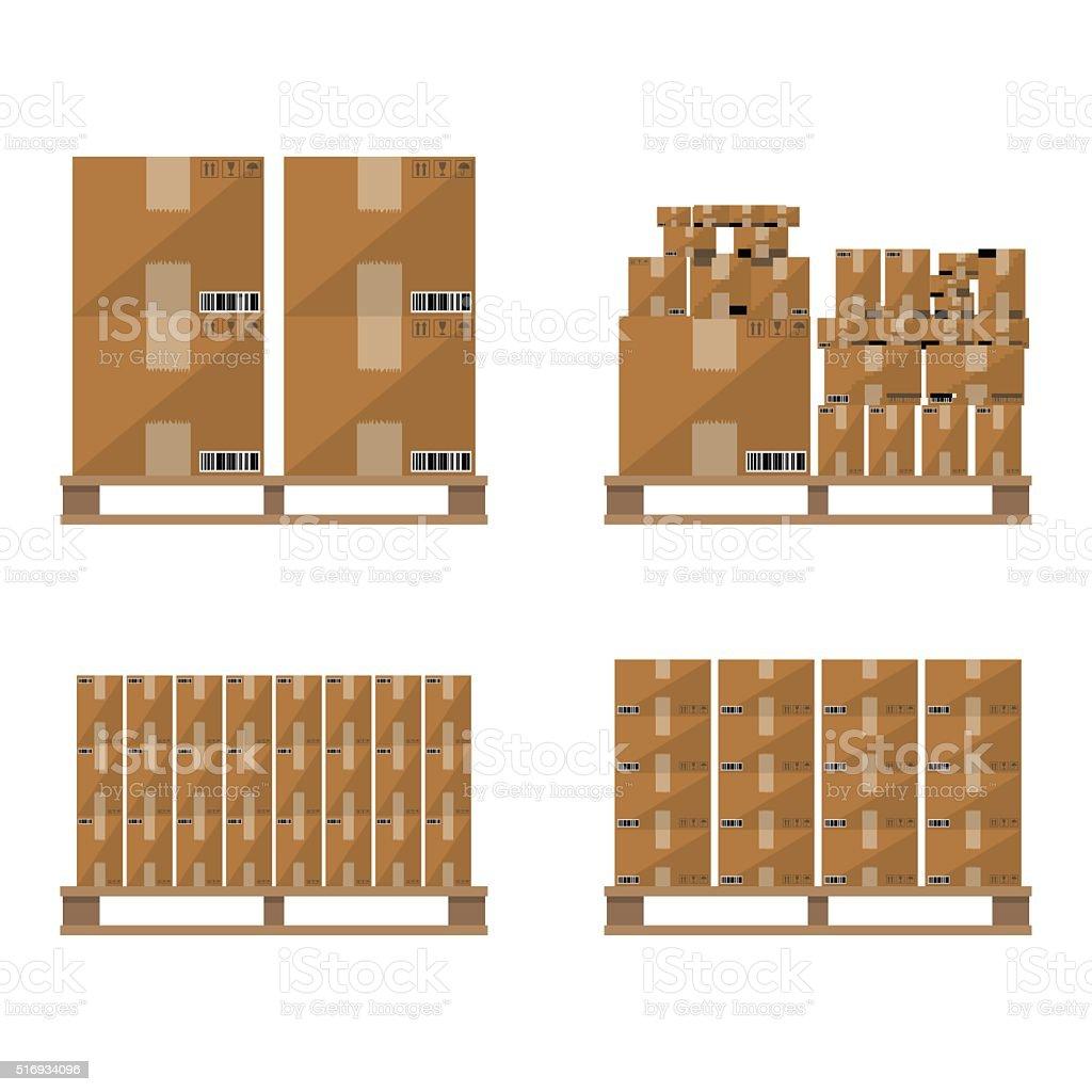 Brown carton box wooden pallet vector art illustration