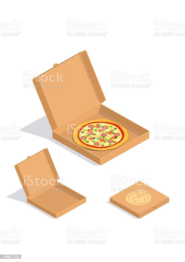 Brown carton packaging pizza box. Cardboard open and close boxes vector art illustration