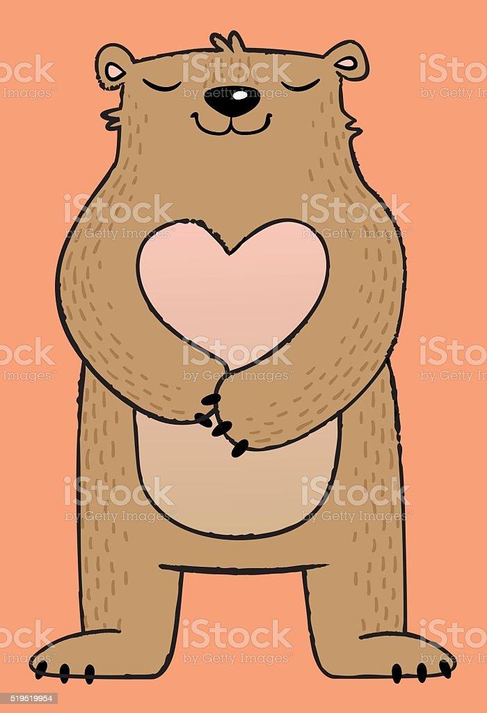 Brown cartoon bear vector art illustration