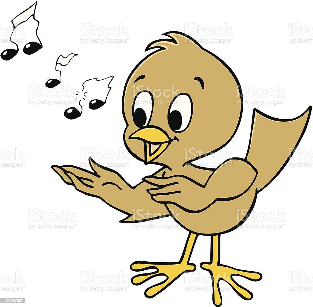A brown cartoon bird singing on a white background vector art illustration
