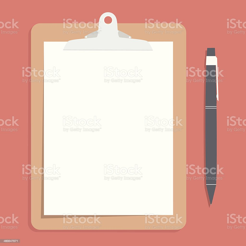 Brown clipboard with blank white paper pen put alongside. vector art illustration