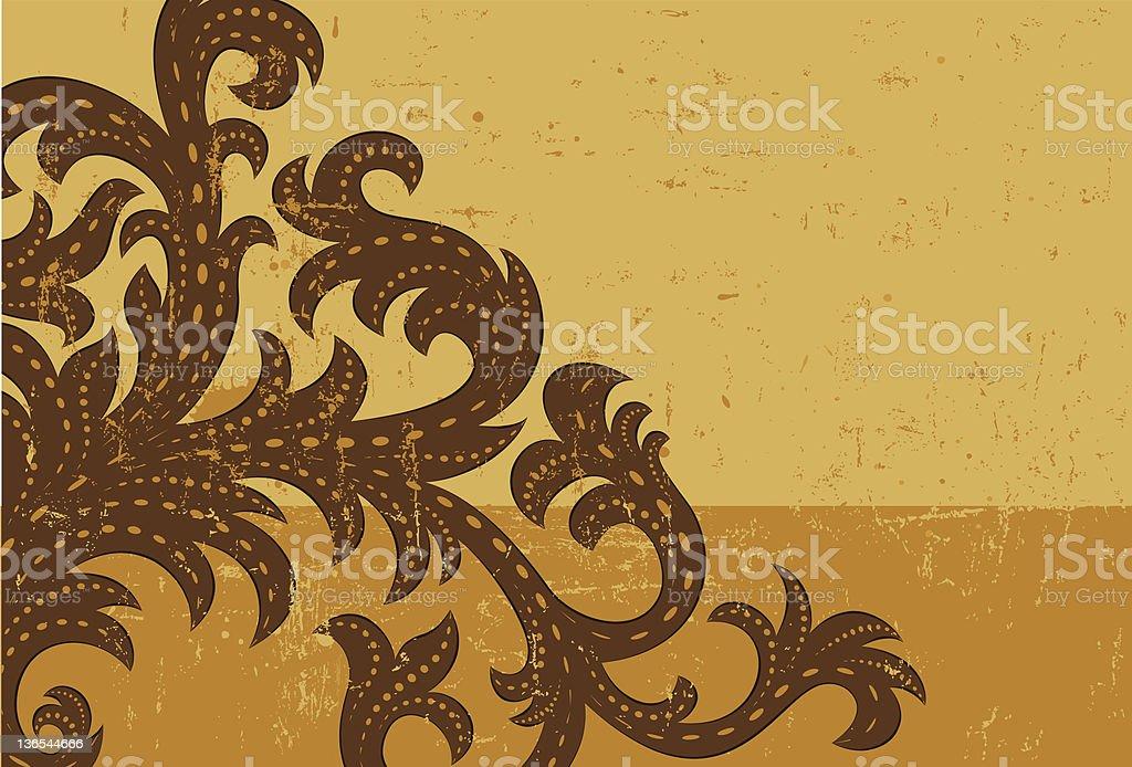 Brown corner scroll royalty-free stock vector art
