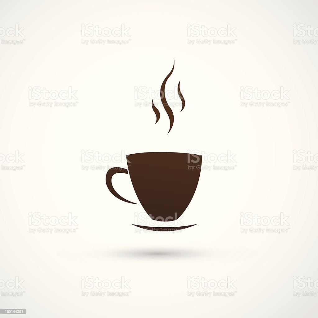 Brown cup of coffee icon on cream background vector art illustration