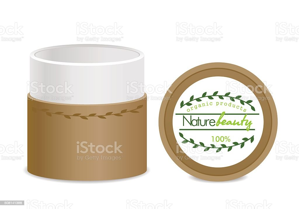 Brown eco cosmetic tube vector art illustration