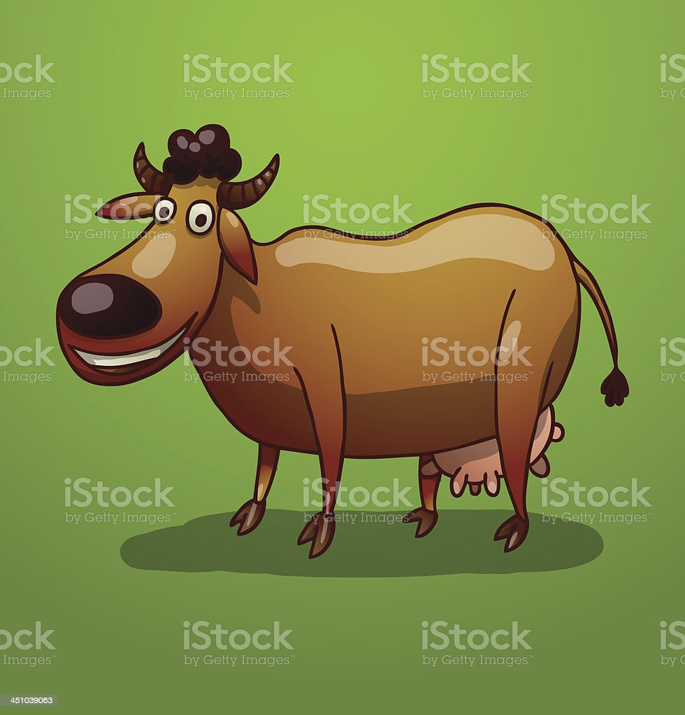 Brown funny cow royalty-free stock vector art