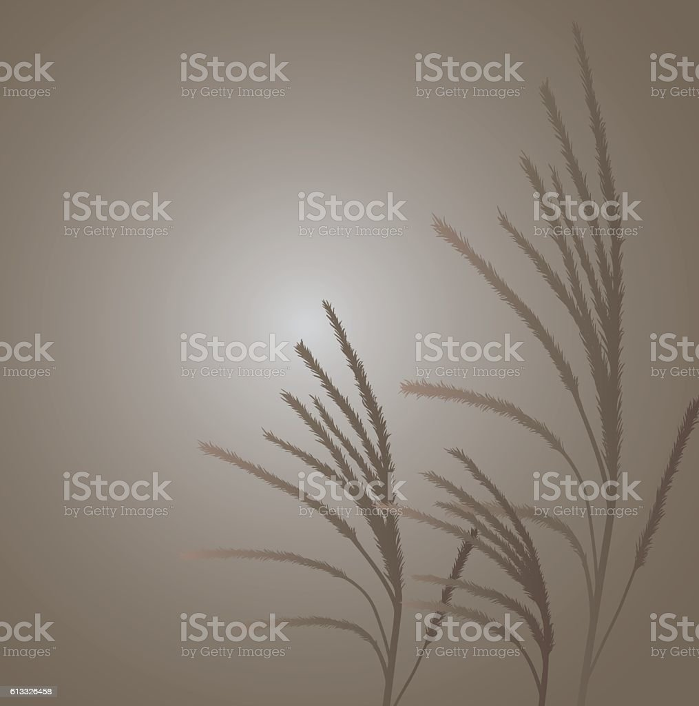 Brown Grass blowing in the wind vector art illustration