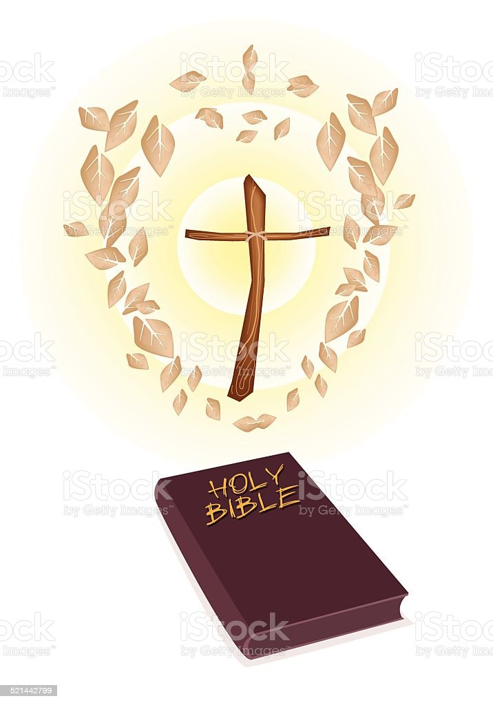 Brown Holy Bible with A Wooden Cross vector art illustration