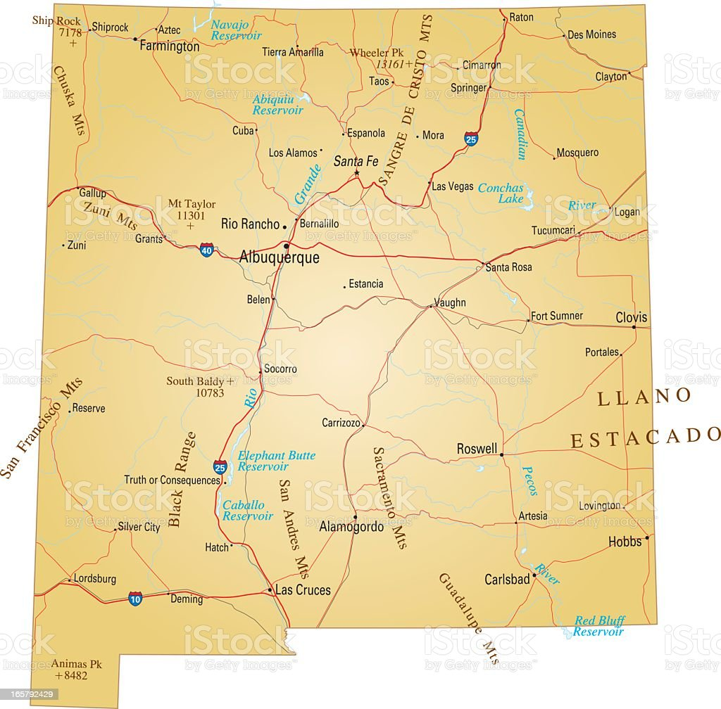 Brown isolated map of New Mexico vector art illustration
