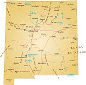 Brown isolated map of New Mexico