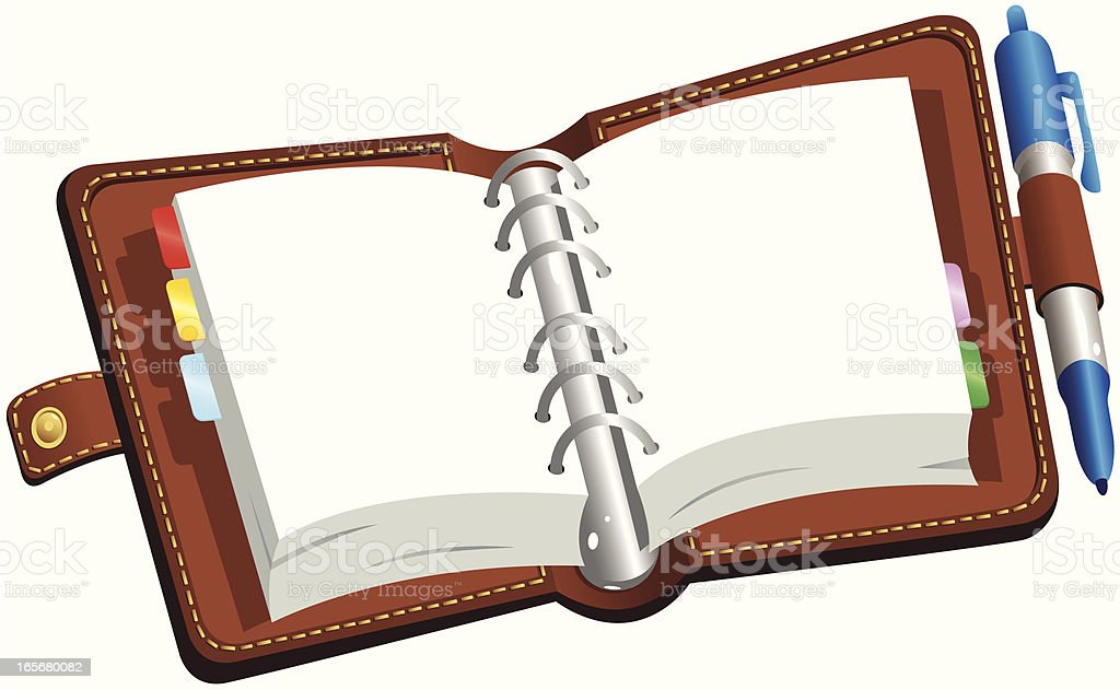 Brown leather bound blank diary royalty-free stock vector art