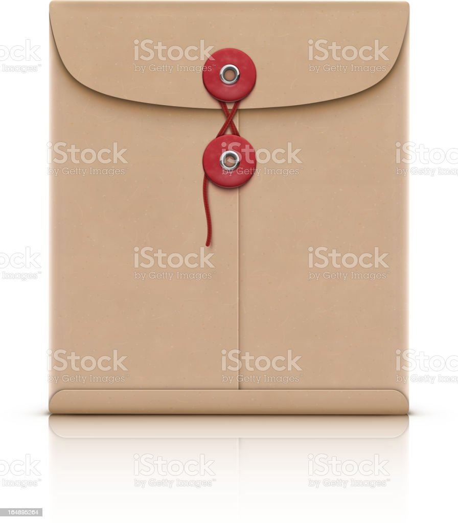 Brown manila envelope with 2 red buttons vector art illustration