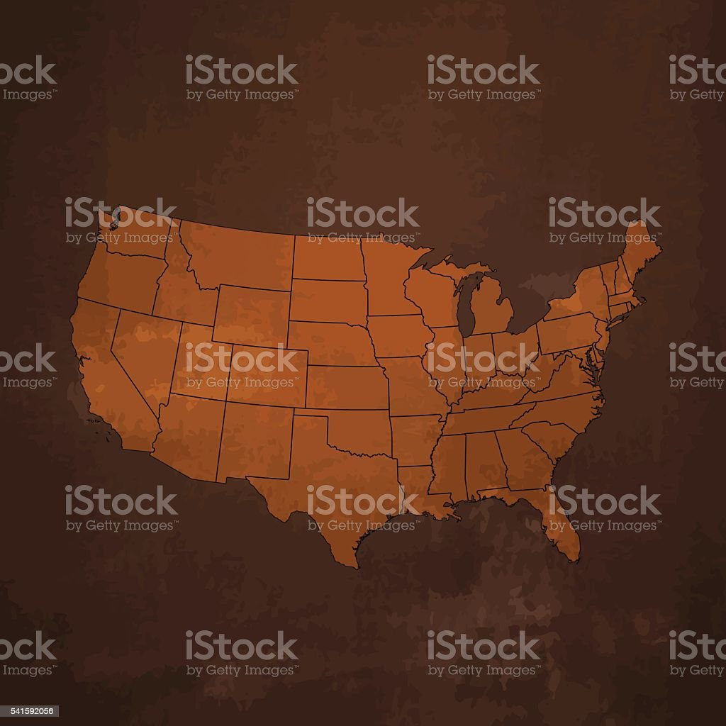 USA brown map on rusty dark metal background vector art illustration