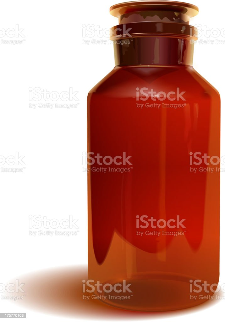 brown medicine or chemistre glass bottle royalty-free stock vector art