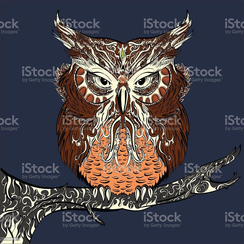 Brown Owl vector art illustration